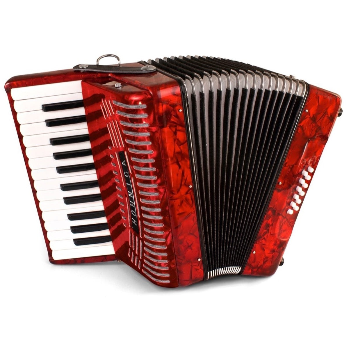 Hohner 1303-RED Piano 12 Bass Accordion, Pearl Red