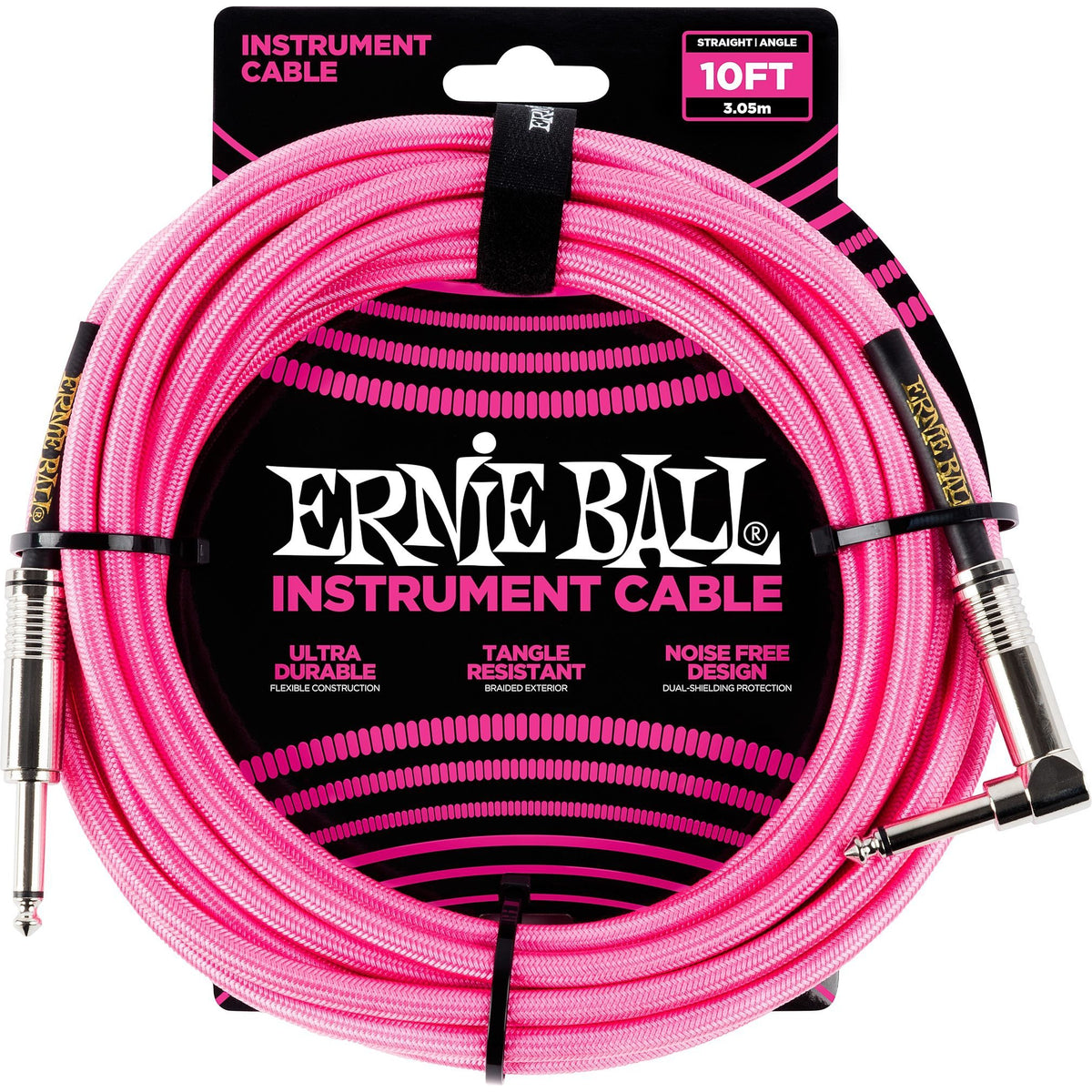Ernie Ball Braided Instrument Cable, Neon Pink, 10 Foot