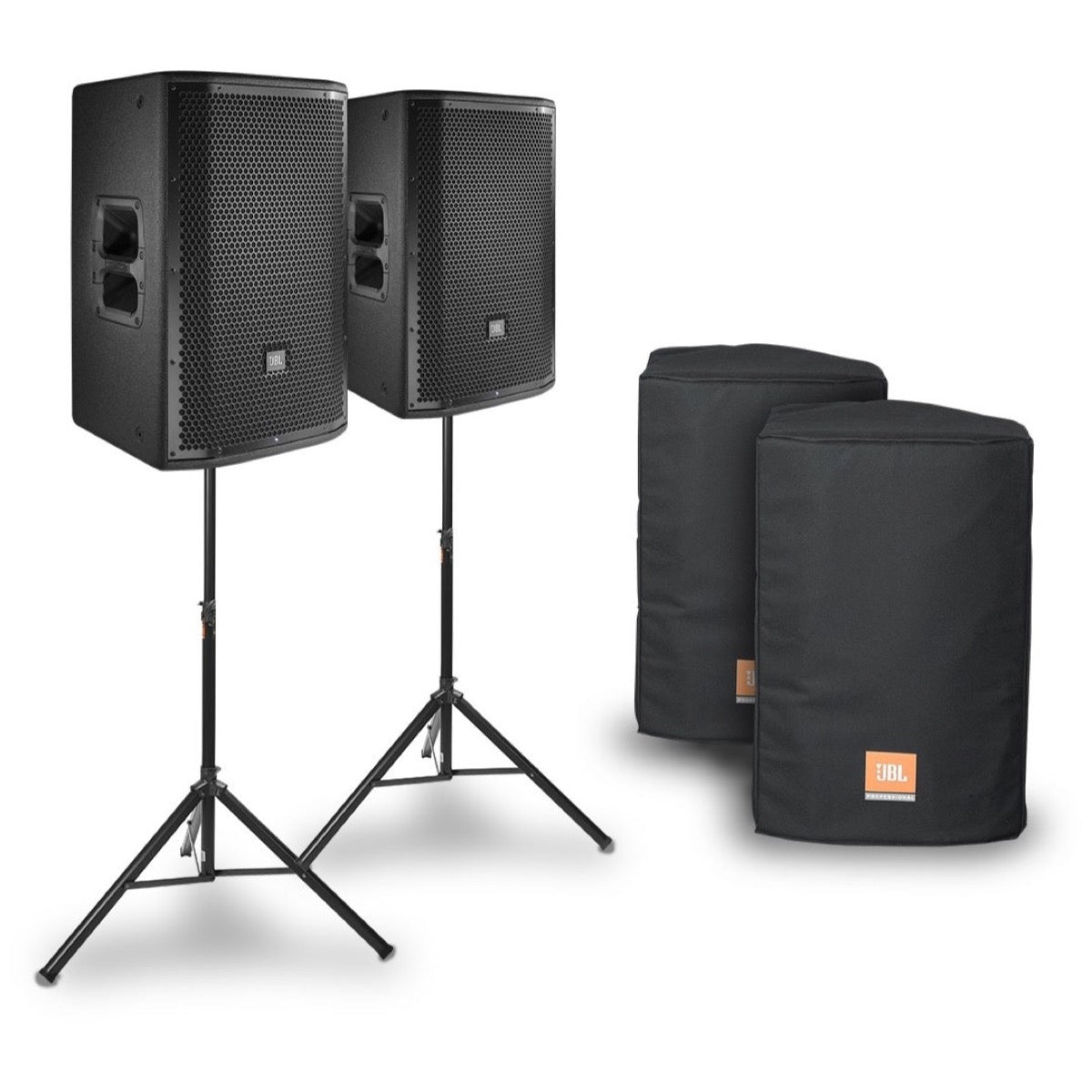 JBL PRX812 Powered Speaker (1500 Watts), Pair, with JBL Covers and Speaker Stands