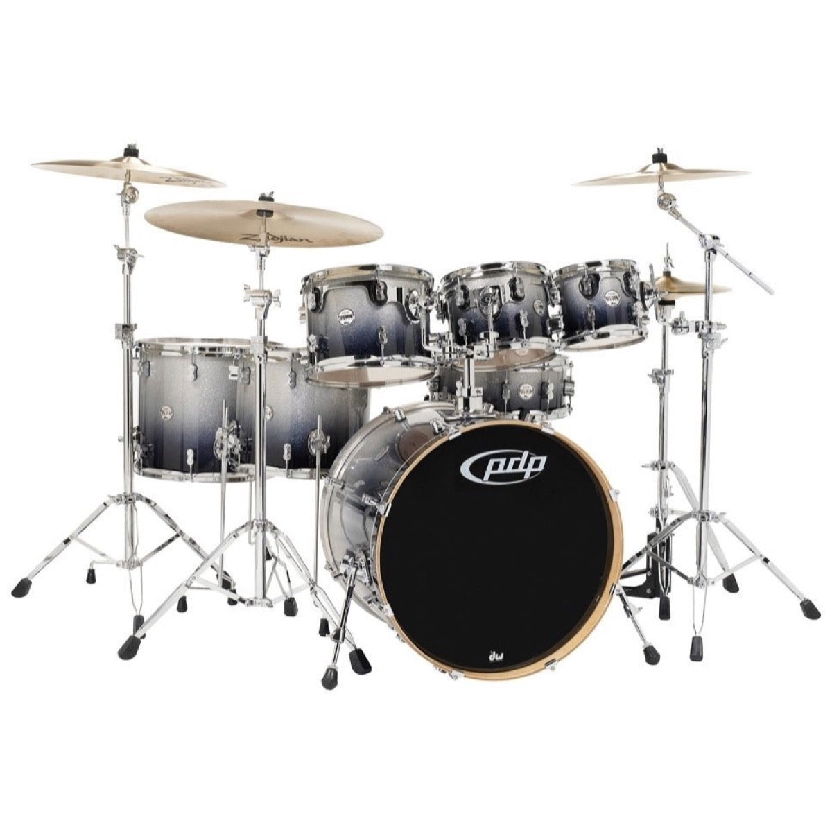 Pacific Drums Concept Maple Drum Shell Kit, 7-Piece, Silver to Black Sparkle Fade