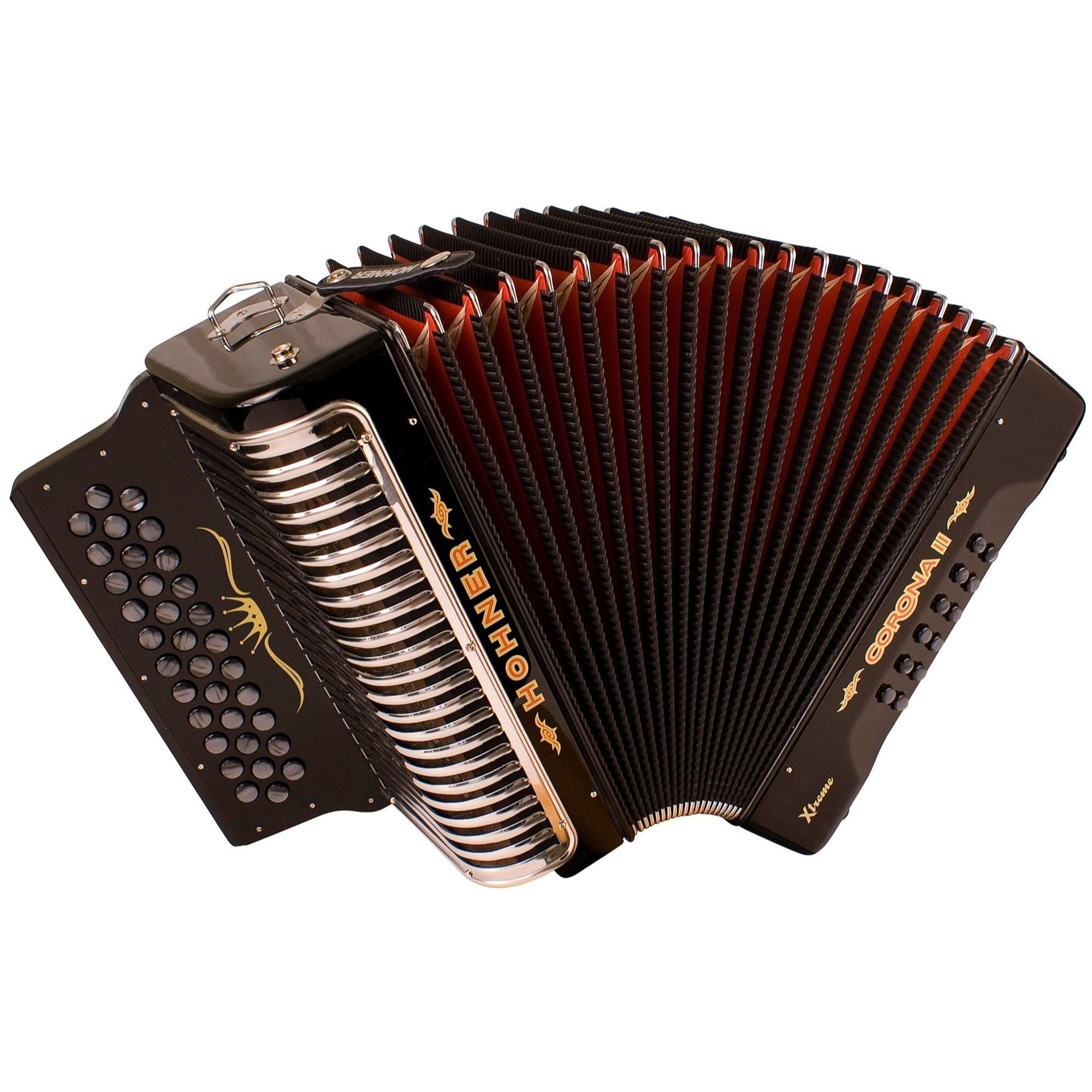 Hohner CXG Corona II Xtreme Accordion, Jet Black, G/C/F