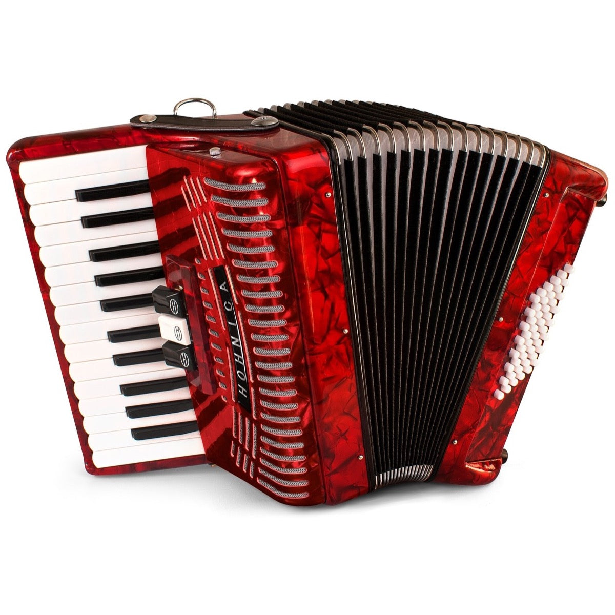 Hohner 1304-RED 48 Bass Piano Accordion, Pearl Red