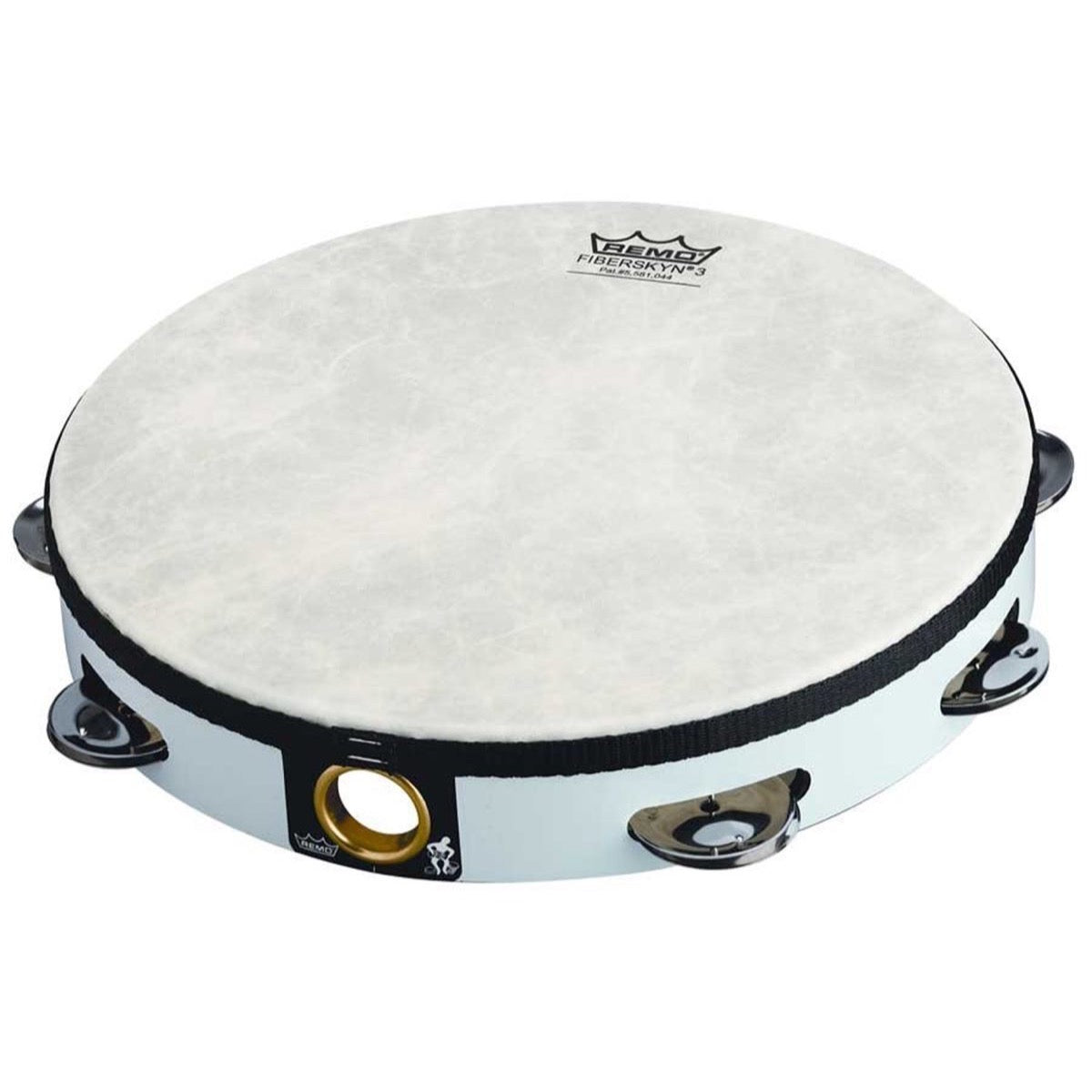 Remo Fiberskyn 3 Pretuned Head Tambourine (Double Row), White, TA-5210-00, 10 Inch