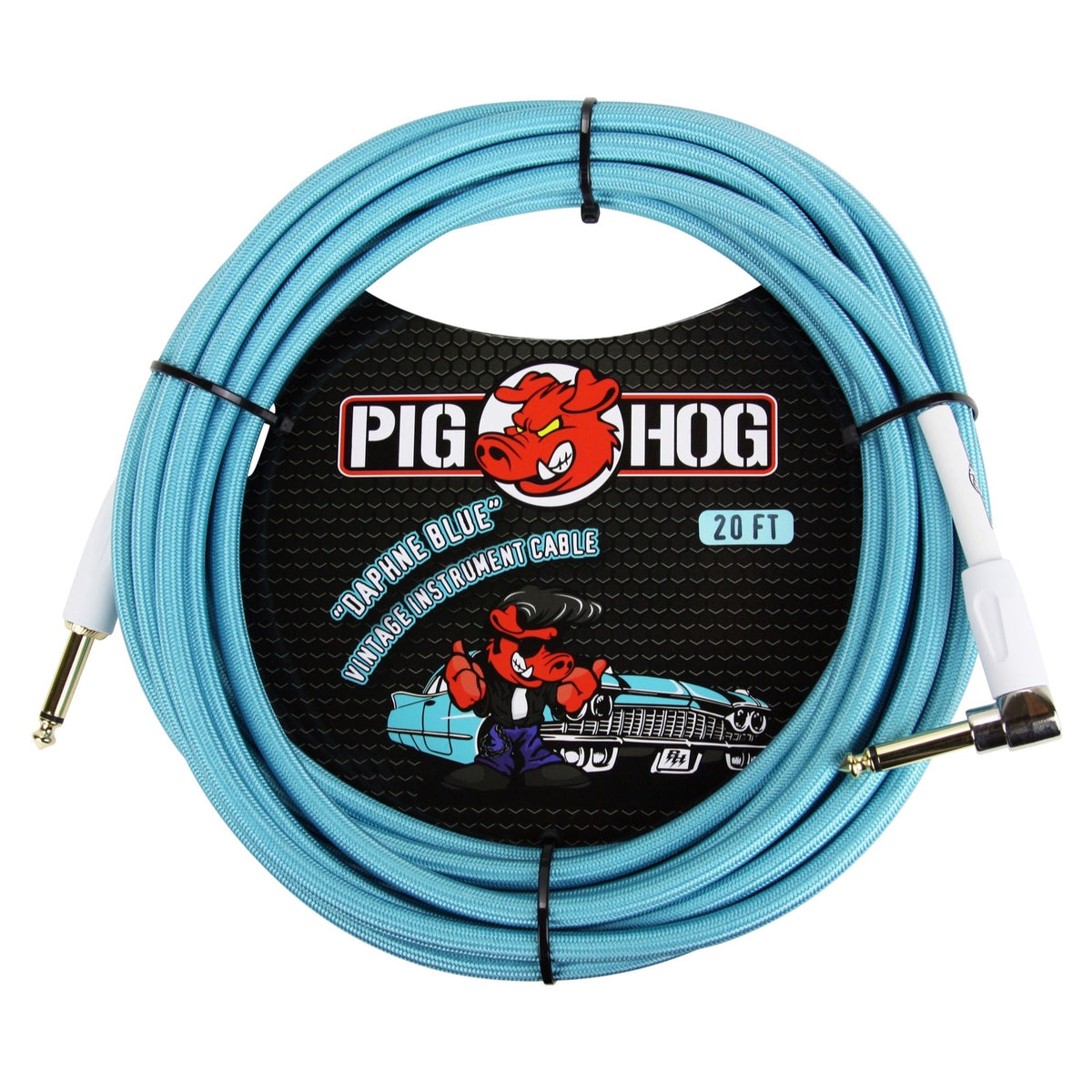 Pig Hog Color Instrument Cable, 1/4 Inch Straight to 1/4 Inch Right Angle, Daphne Blue, 20'