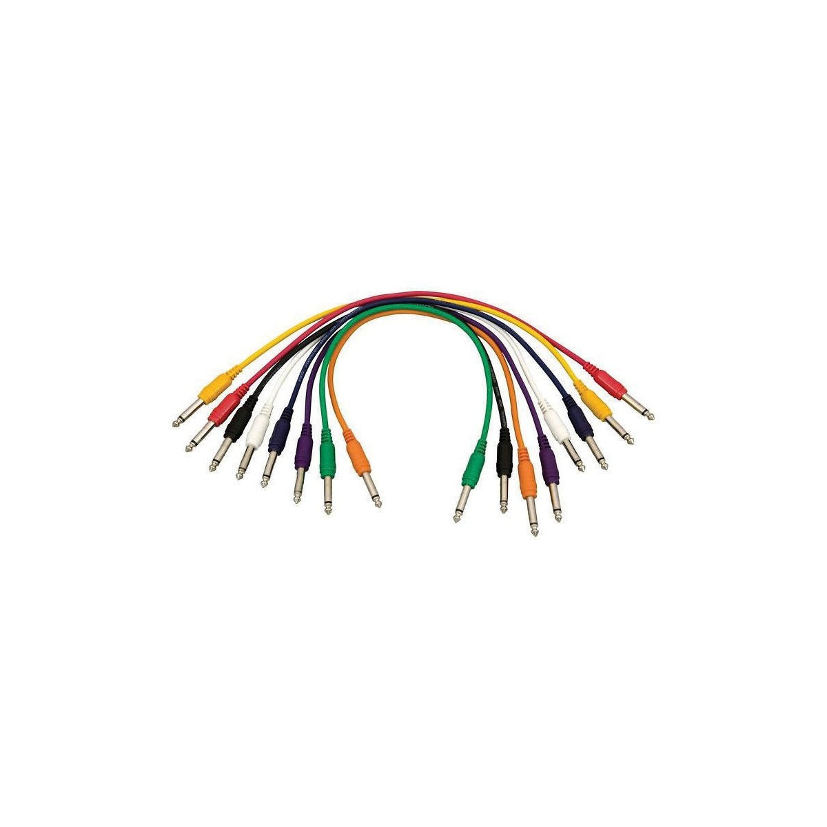 Hot Wires 1/4 Inch TS Patch Cables (8-Pack), PC1817QTRS, Straight End, 8-Pack, 17 Inch