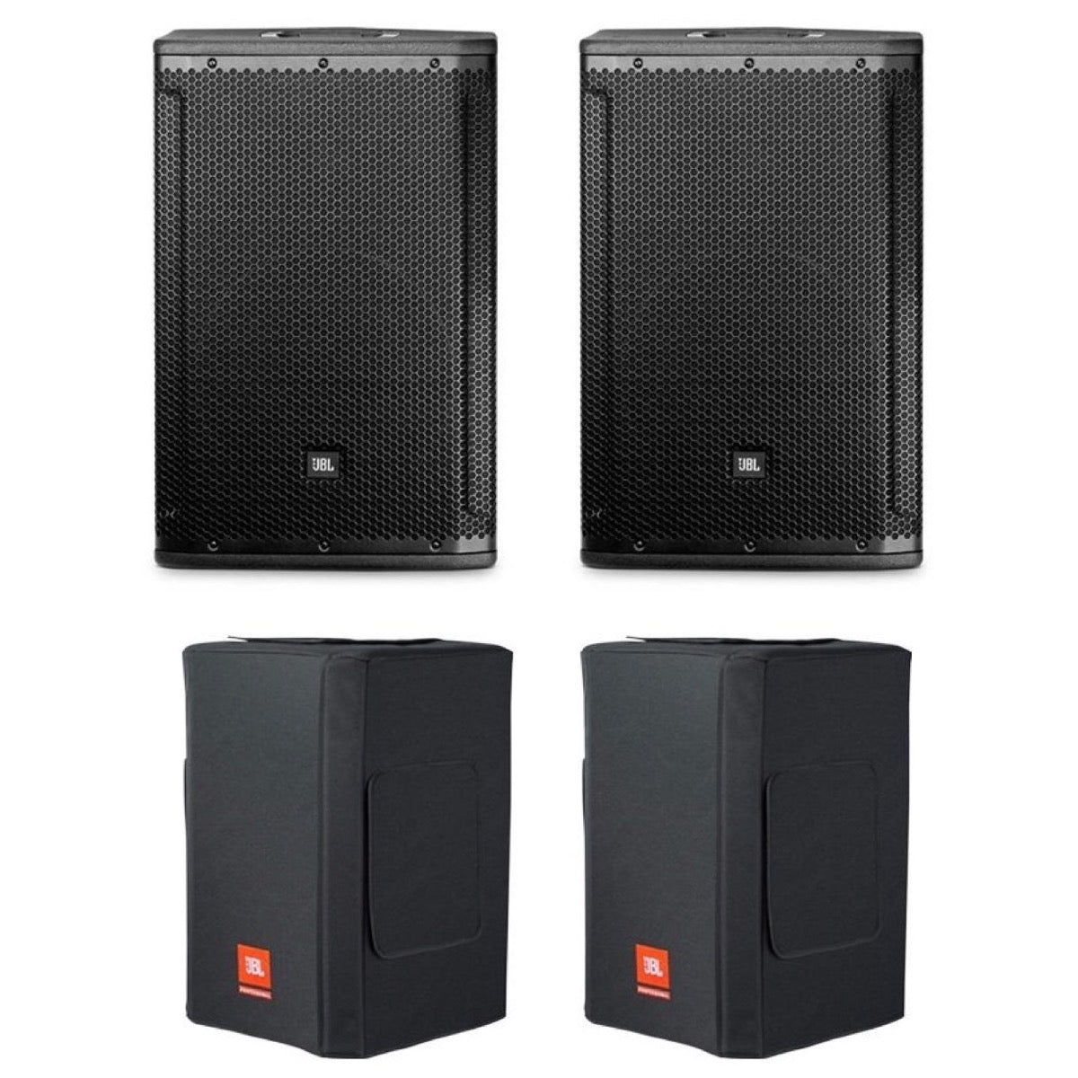 JBL SRX812P Powered Loudspeaker, Pair, with JBL SRX812PCVRDLX Deluxe Padded Covers