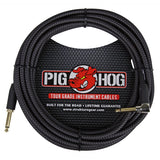 Load image into Gallery viewer, Pig Hog Color Instrument Cable, 1/4 Inch Straight to 1/4 Inch Right Angle, Black Woven, 20'