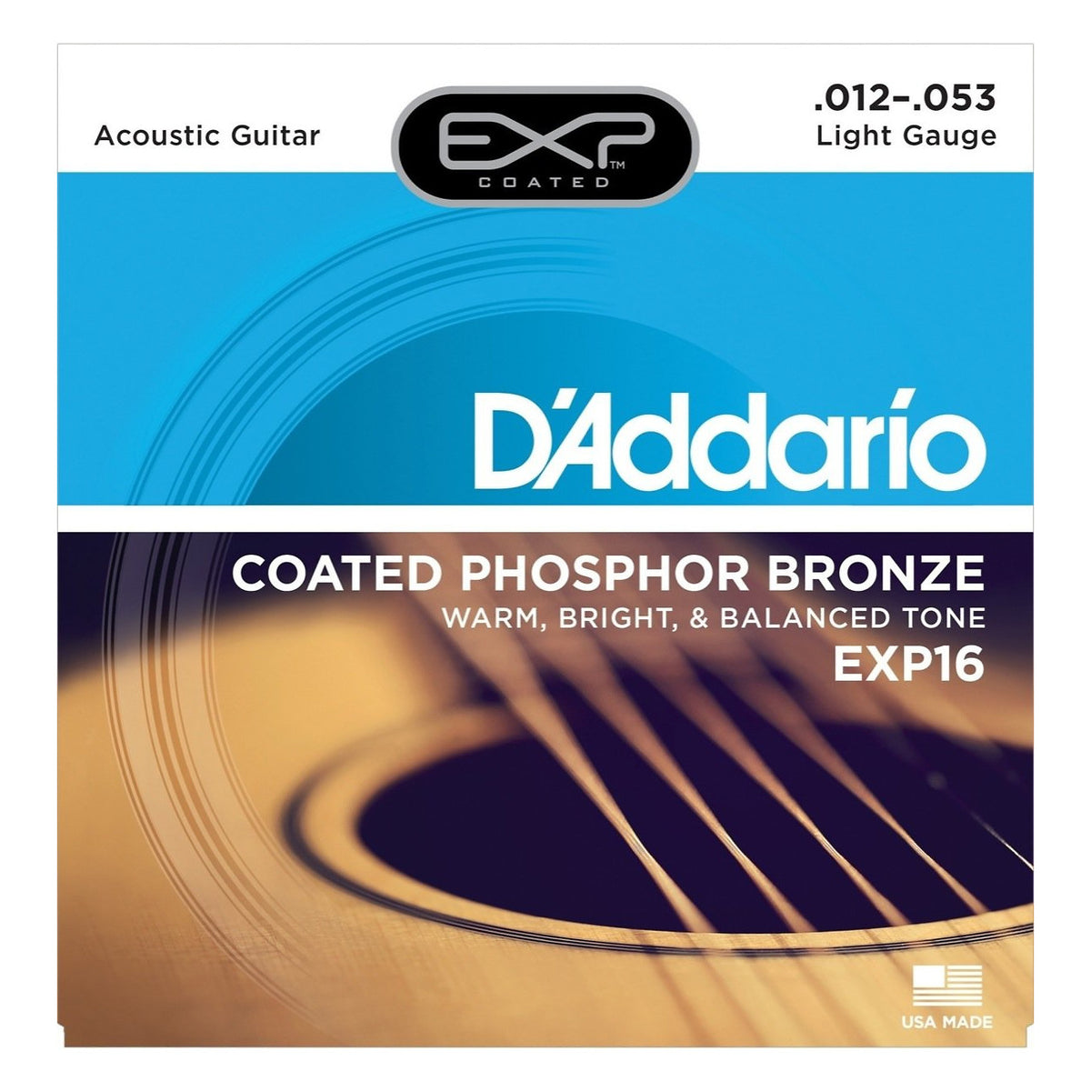 D'Addario EXP Coated Phosphor Bronze Acoustic Guitar Strings, EXP16, Light