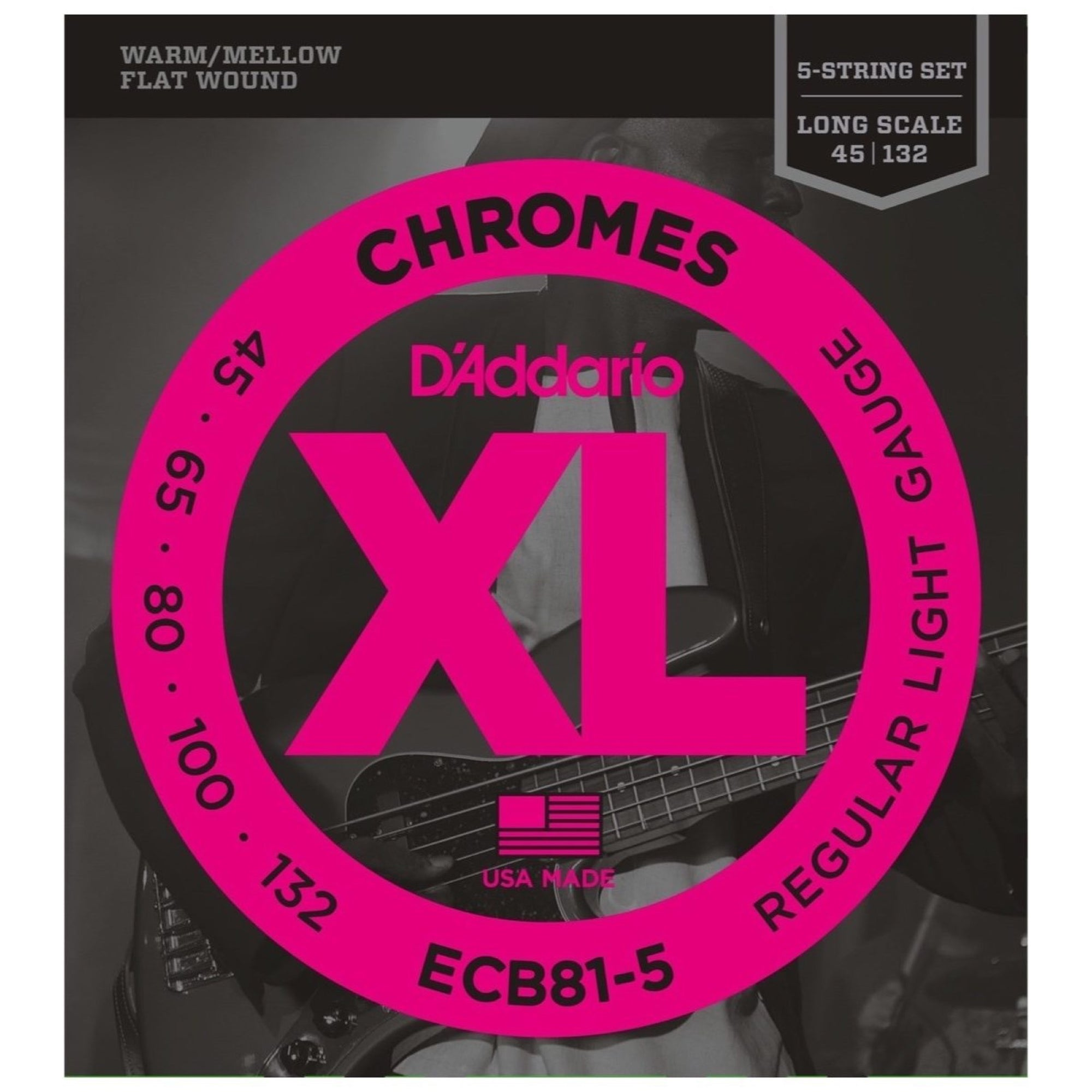 D'Addario ECB81-5 Chromes Flatwound Bass Strings (Light, 5-String, Long Scale)