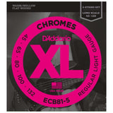 Load image into Gallery viewer, D'Addario ECB81-5 Chromes Flatwound Bass Strings (Light, 5-String, Long Scale)