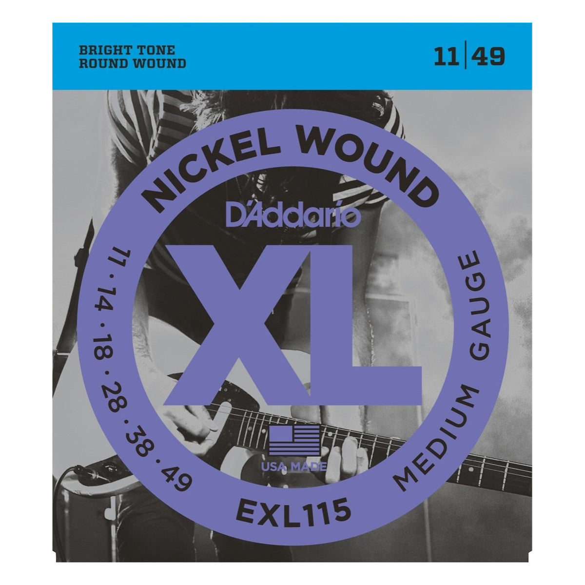 D'Addario EXL115 XL Electric Guitar Strings (Blues/Jazz Rock, 11-49)