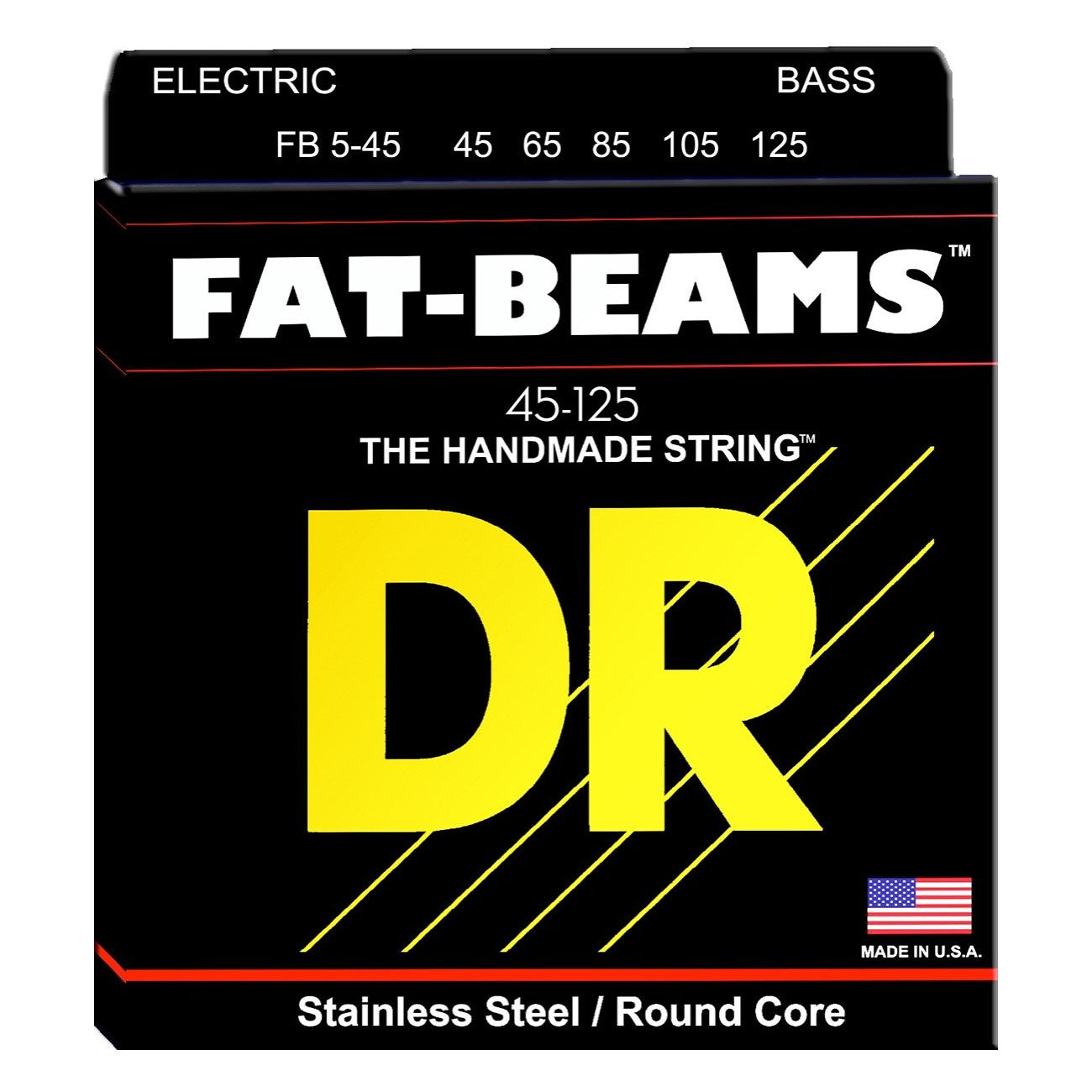 DR Strings FB545 Fat-Beams Electric Bass Strings, 5-Strings, Medium, 45-125