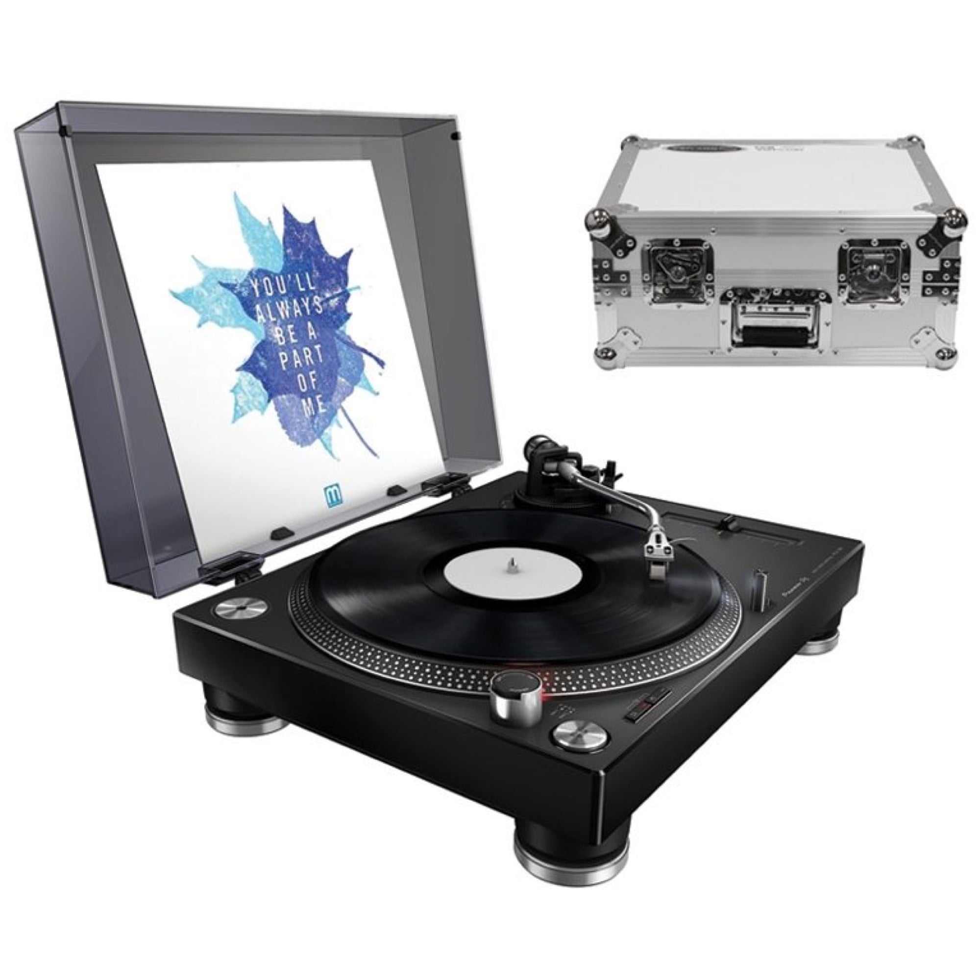 Pioneer PLX-500 Direct-Drive Turntable with USB, White, with Odyssey FZ1200 Case (White)