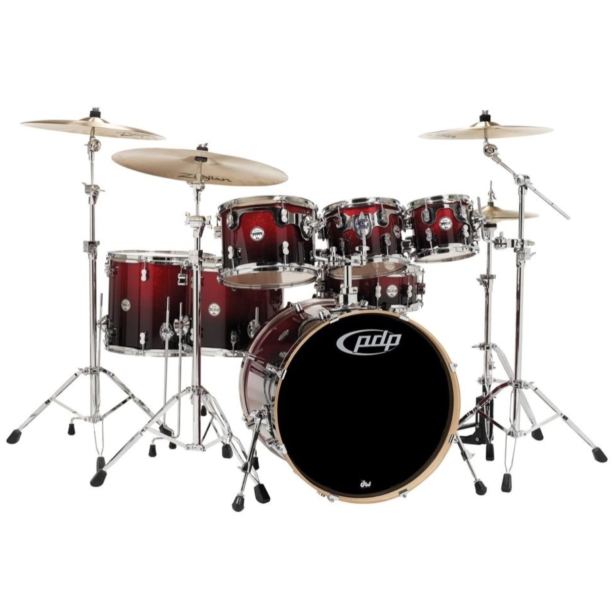 Pacific Drums Concept Maple Drum Shell Kit, 7-Piece, Cherry to Black Sparkle Fade, with Pacific Drum 800 Series Hardware
