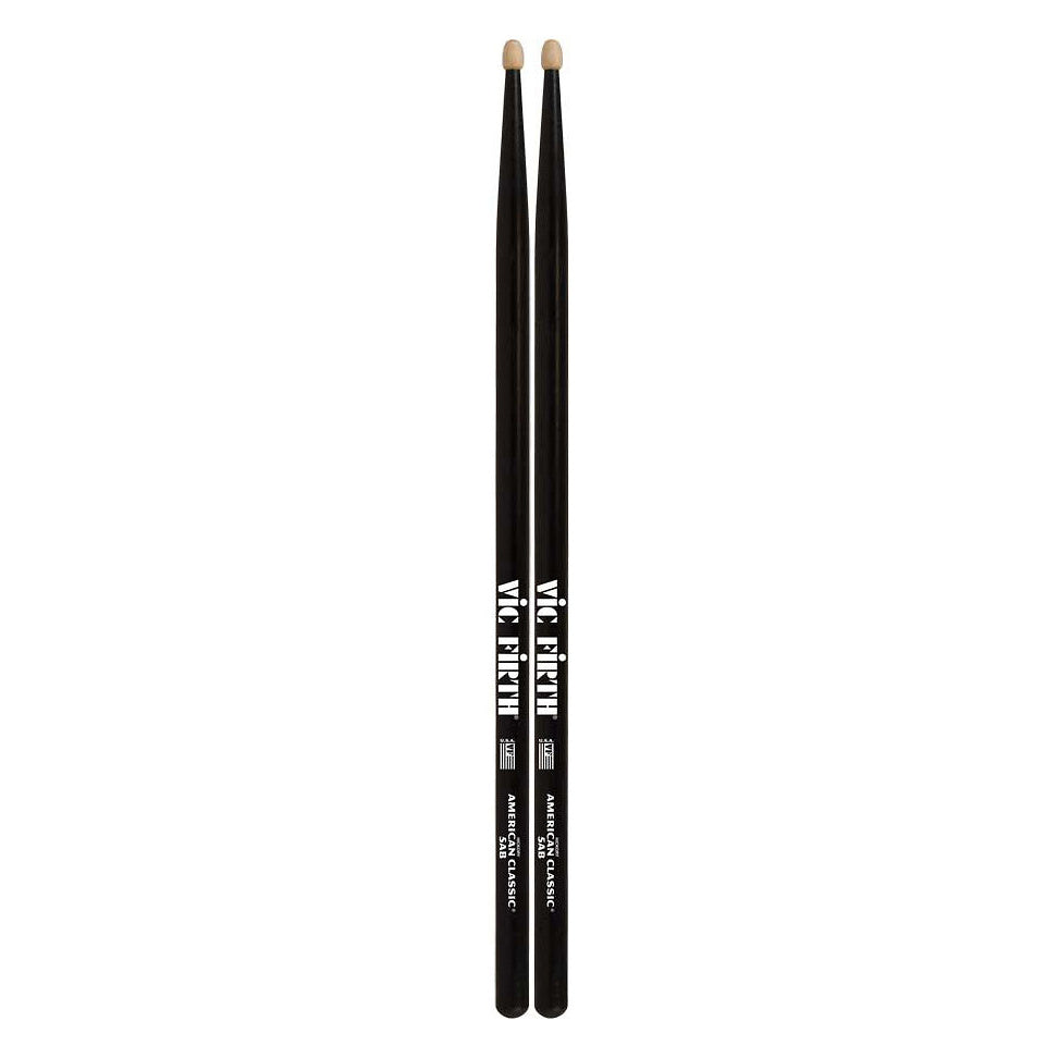 Vic Firth American Classic 5A Drumsticks, Black, Wood Tip, Pair