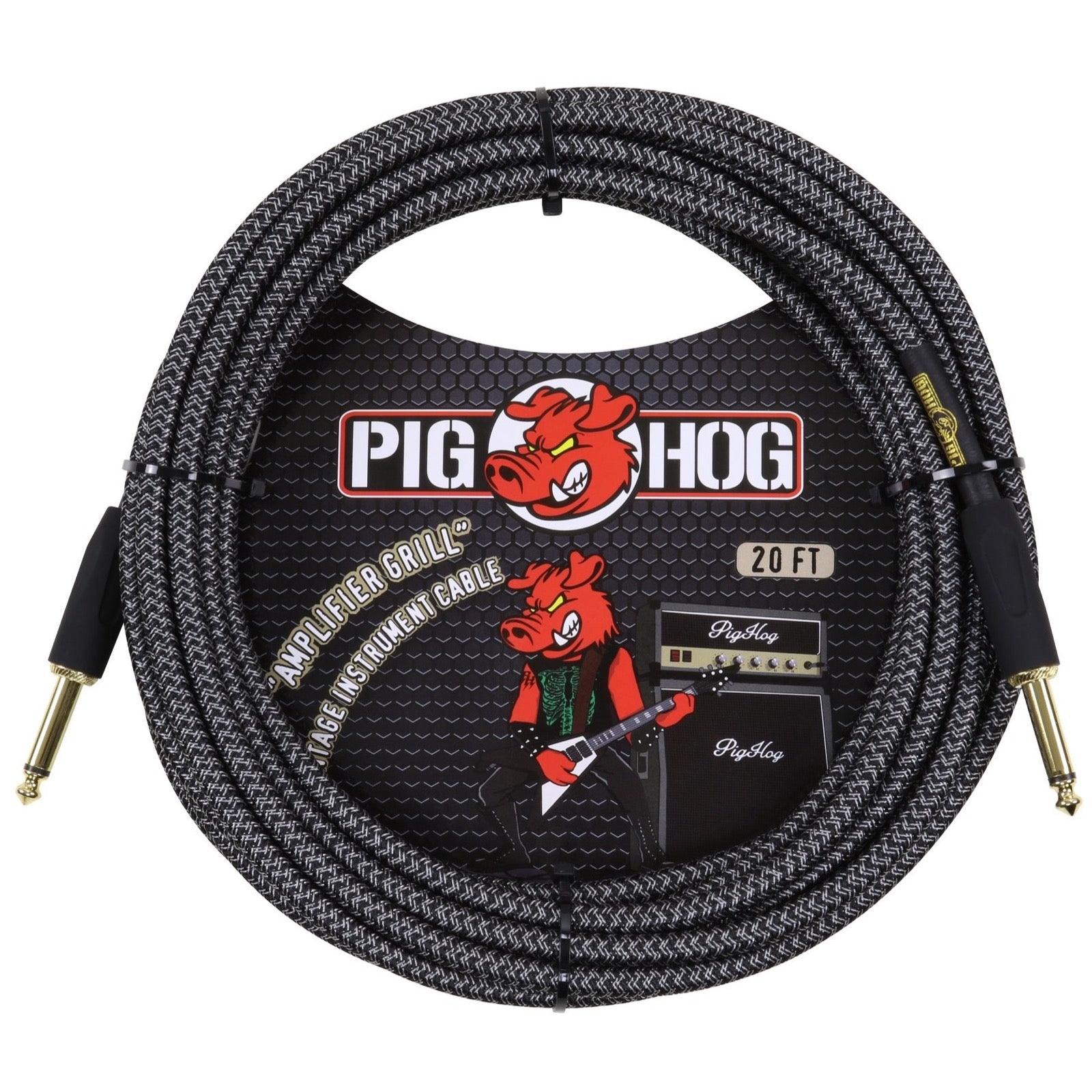 Pig Hog Vintage Series Instrument Cable, 1/4 Inch Straight to 1/4 Inch Straight, Amp Grill, 20'