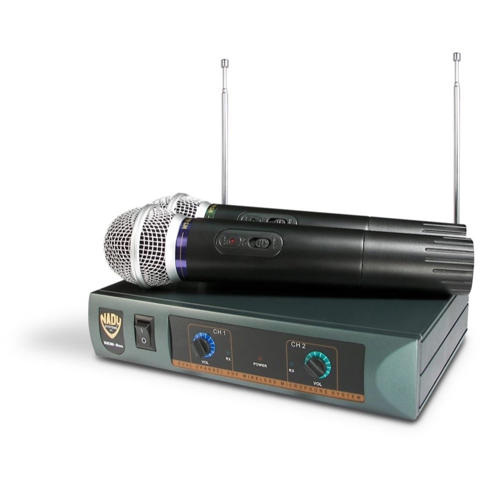 Nady DKW-Duo HT Dual Handheld Microphone VHF Wireless System, Band 185.15(B), 208.15(D)