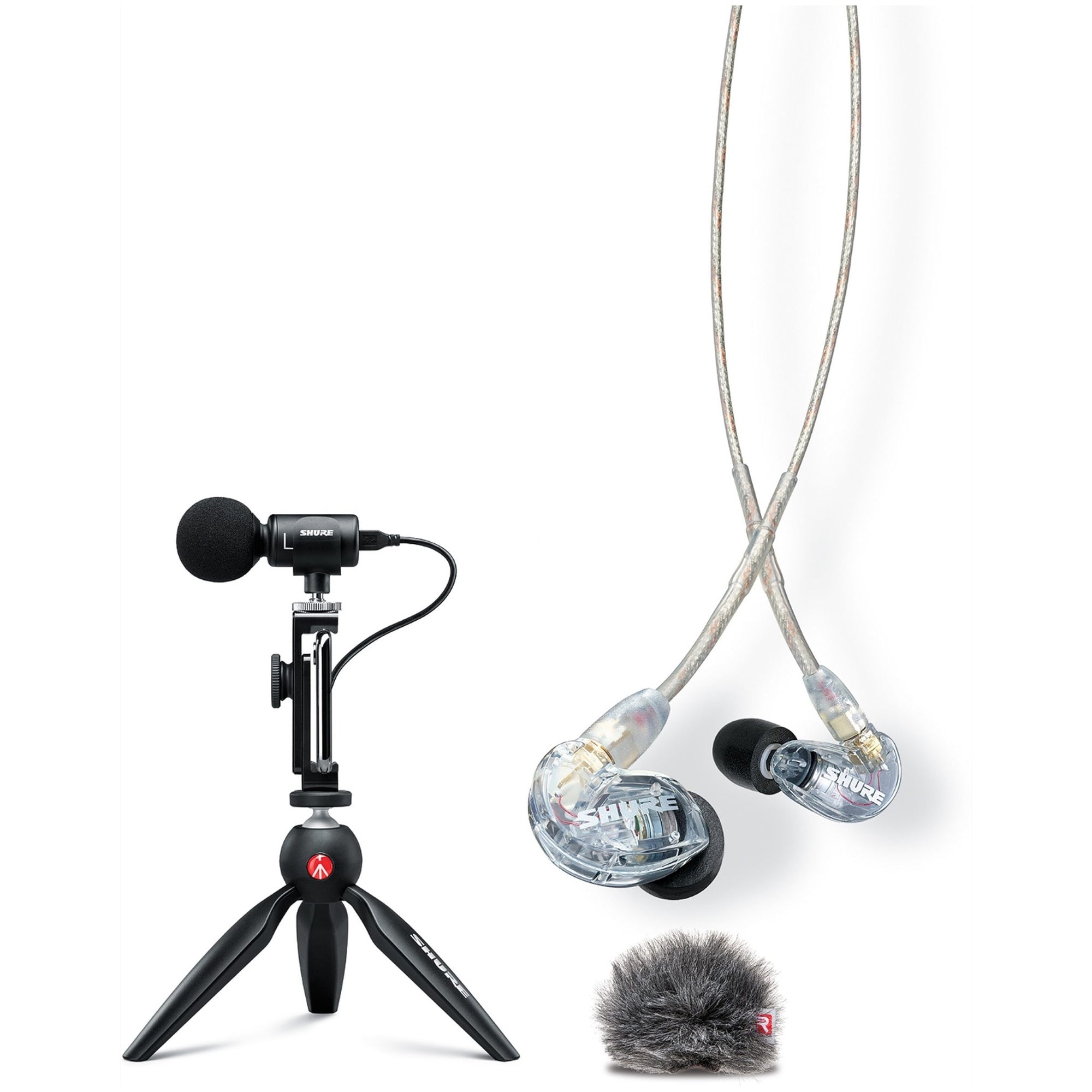 Shure MV88 Plus Portable Videography Kit (With SE215 Earphones and AMV88-Fur Windjammer)