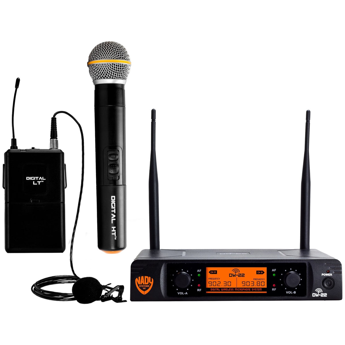 Nady DW-22 Dual Transmitter Digital Wireless Handheld and Lavalier Microphone Combination System, Channel D-13 and D-14