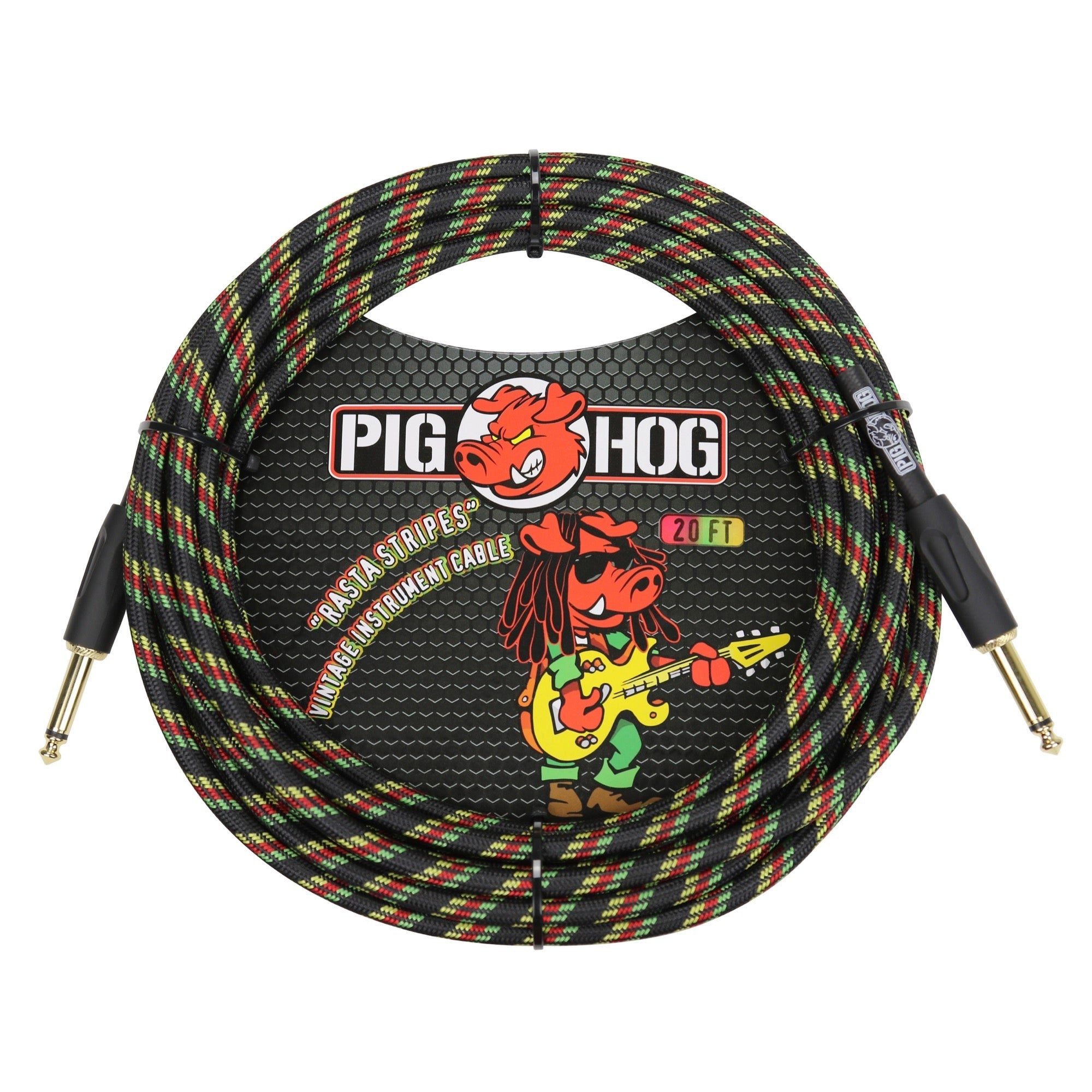 Pig Hog Vintage Series Instrument Cable, 1/4 Inch Straight to 1/4 Inch Straight, Rasta Stripes, 20'