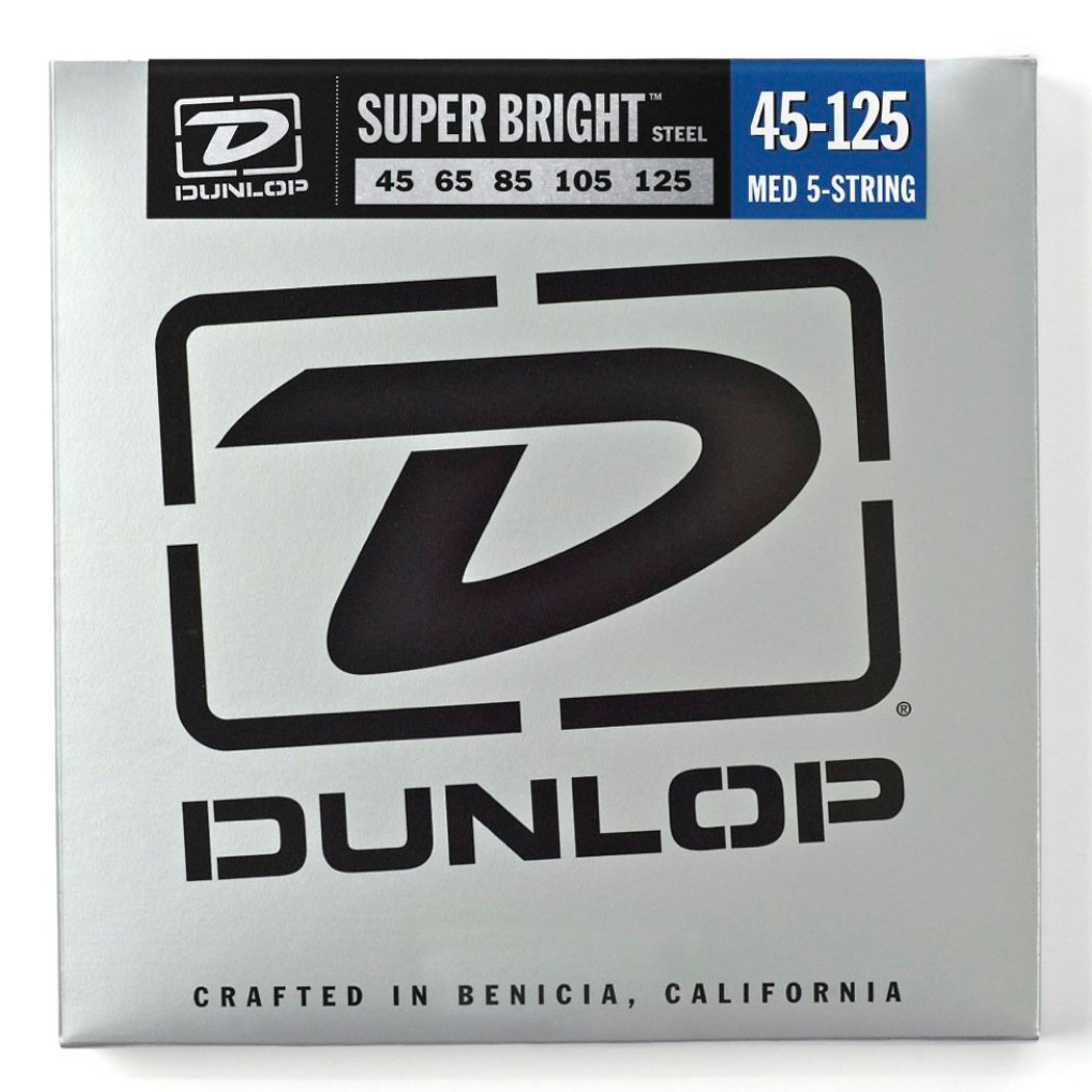 Dunlop Super Bright Steel 5-String Electric Bass Strings, Medium, 45-125