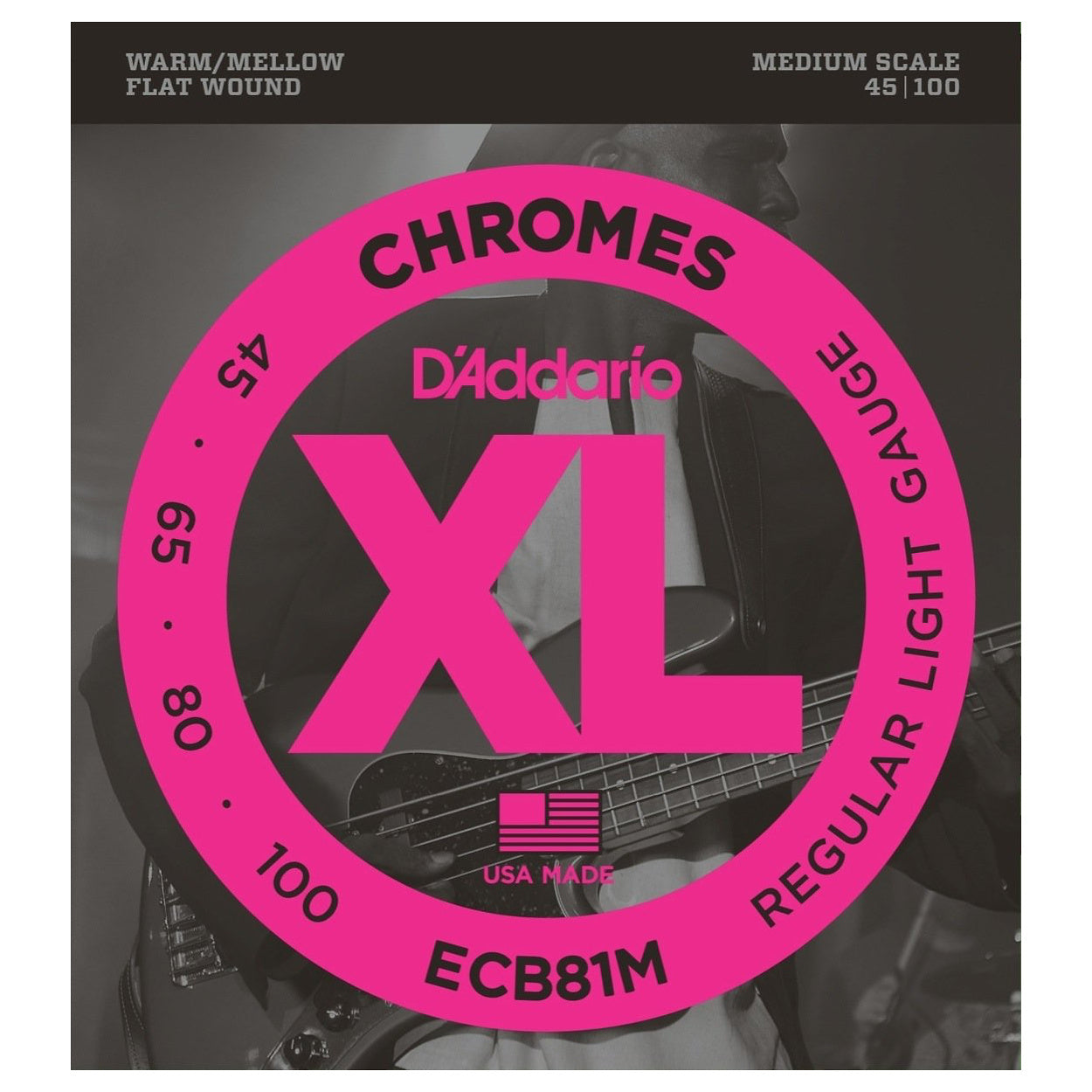 D'Addario ECB81M Chromes Flatwound Bass String (Regular Light, Medium Scale)