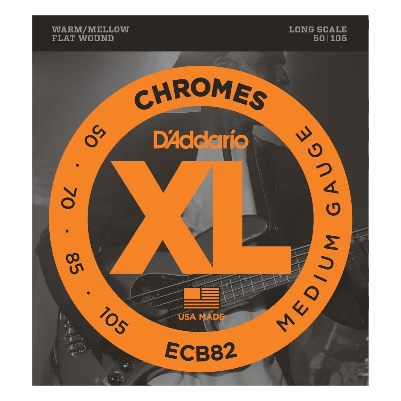 D'Addario ECB82 Chromes Flatwound Bass Strings (Medium Gauge, Long Scale)