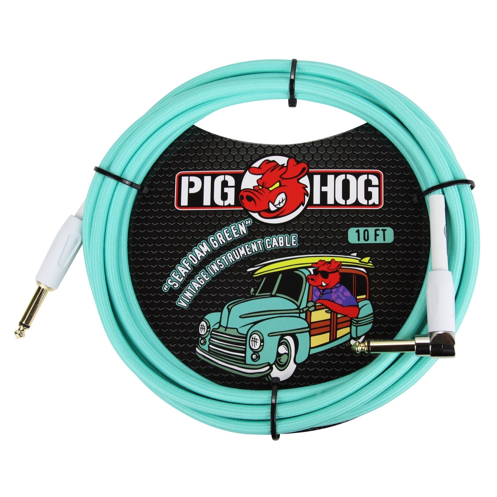 Pig Hog Color Instrument Cable, 1/4 Inch Straight to 1/4 Inch Right Angle, Sea Foam Green, 10 Foot