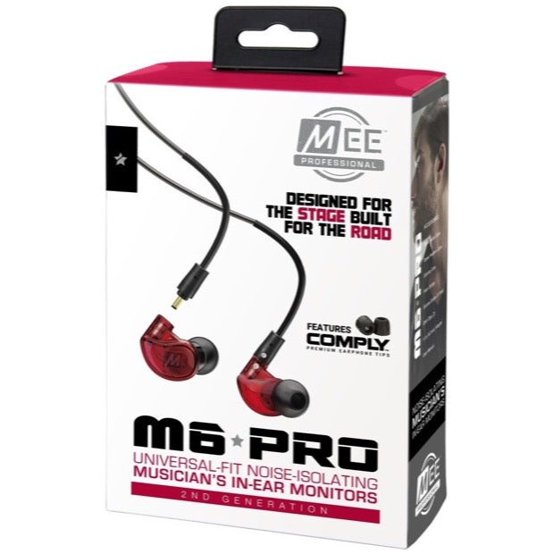 MEE Audio M6 Pro 2nd Gen In-Ear Headphone Monitors, Red