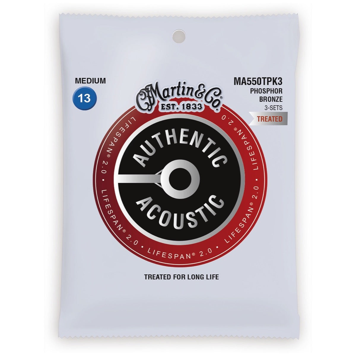 Martin Authentic Lifespan 2.0 Treated Phosphor Bronze Acoustic Guitar Strings, MA550T, 3-Pack, Medium