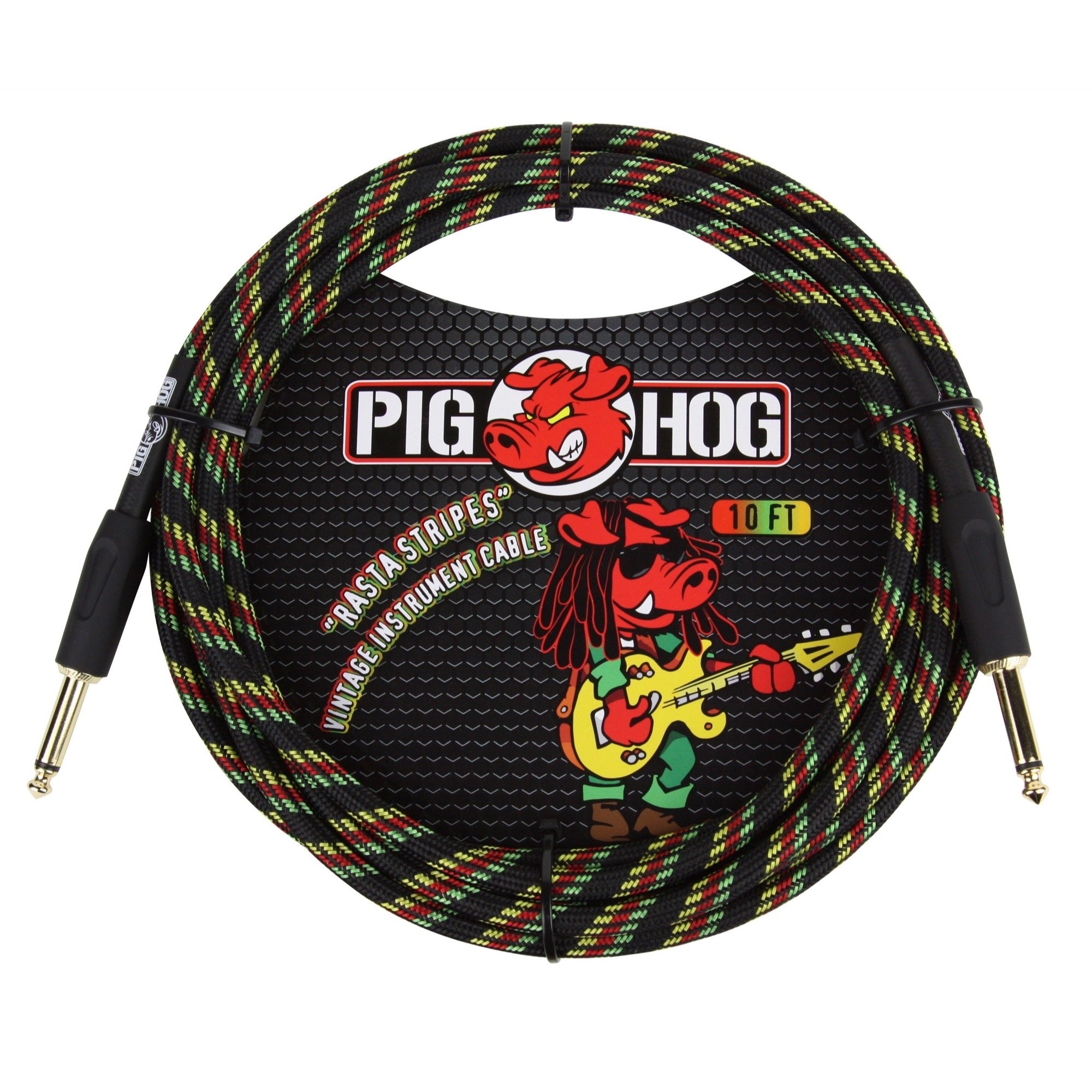 Pig Hog Vintage Series Instrument Cable, 1/4 Inch Straight to 1/4 Inch Straight, Rasta Stripes, 10 Foot