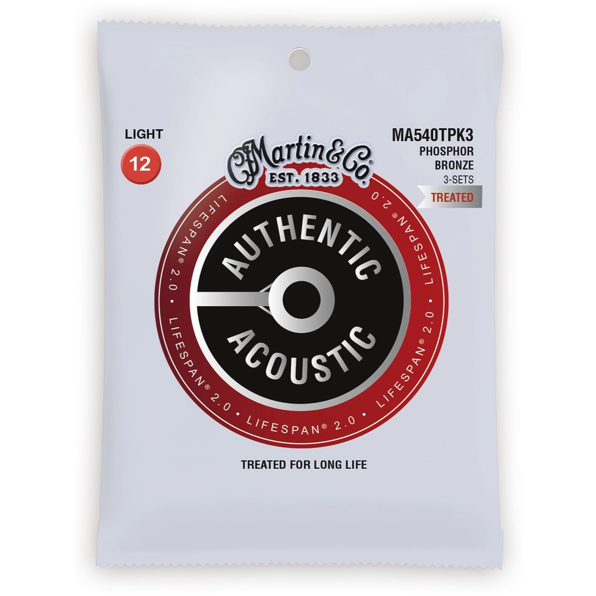 Martin Authentic Lifespan 2.0 Treated Phosphor Bronze Acoustic Guitar Strings, MA540T, 3-Pack, Light