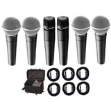Load image into Gallery viewer, Shure SM57 and SM58 Microphone Package, 2xSM57, 4xSM58, CBI Cables and On-Stage Bag