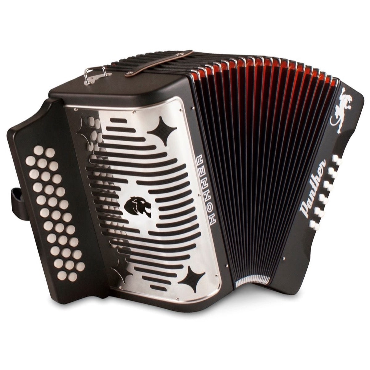 Hohner Panther Diatonic Accordion, Black, 3100GB, Key Combination G/C/F