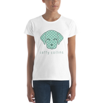 Women's Teal Pattern Dog T-Shirt