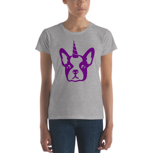 Women's Purple Frenchiecorn Dog T-Shirt