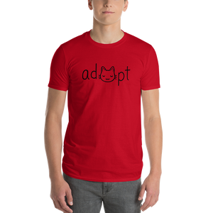 Men's Black Adopt Cat T-Shirt