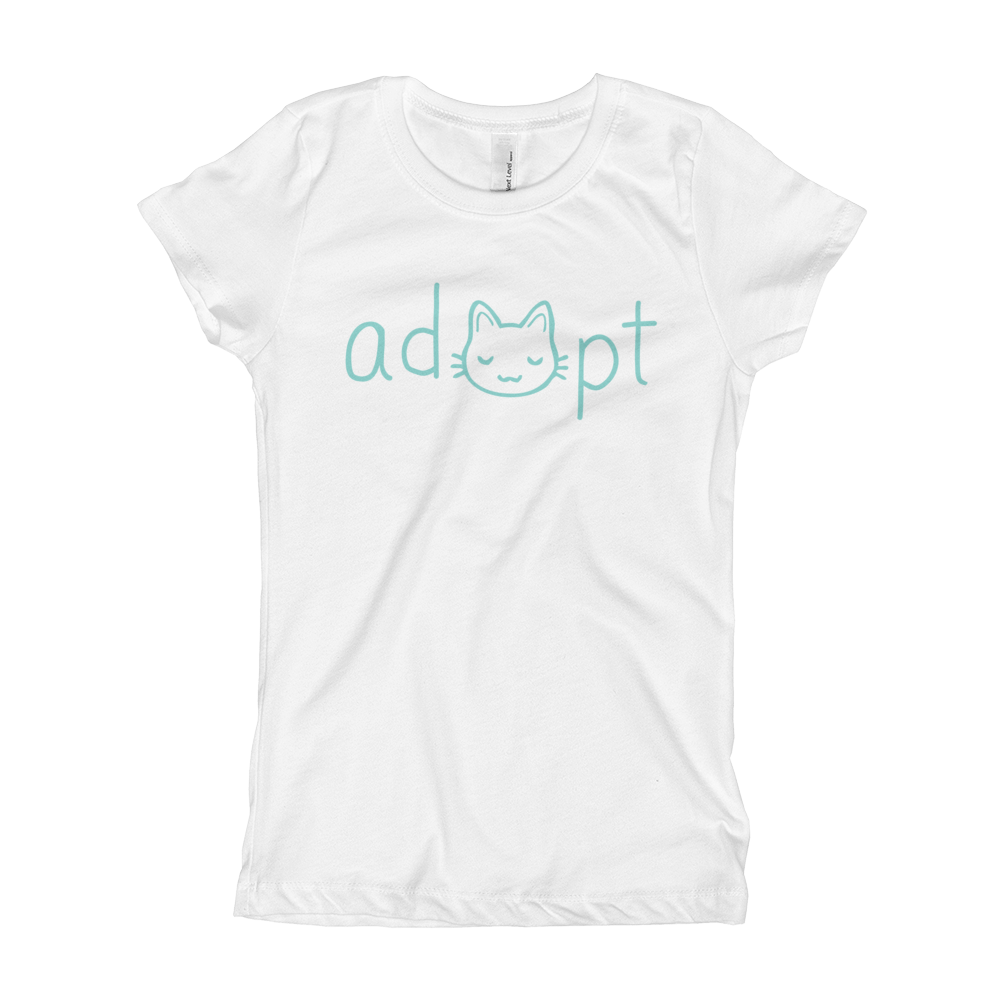 Girls Blue Adopt Cat T-Shirt