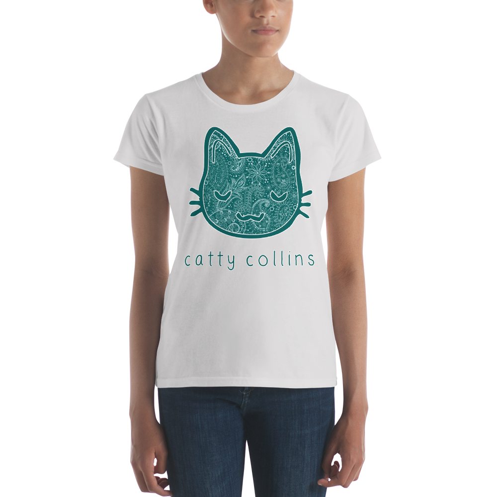 Women's Teal Paisleys Cat T-Shirt