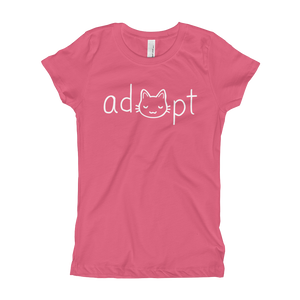 Girls White Adopt Cat T-Shirt