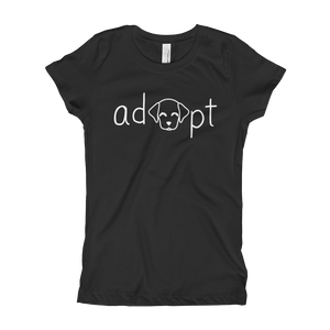 Girls White Adopt Dog T-Shirt