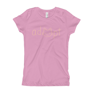 Girls Pink Adopt Cat T-Shirt