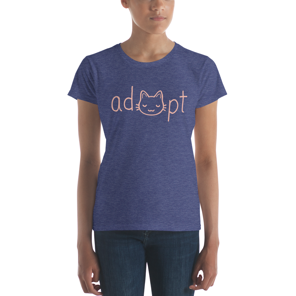 Women's Pink Adopt Cat T-Shirt