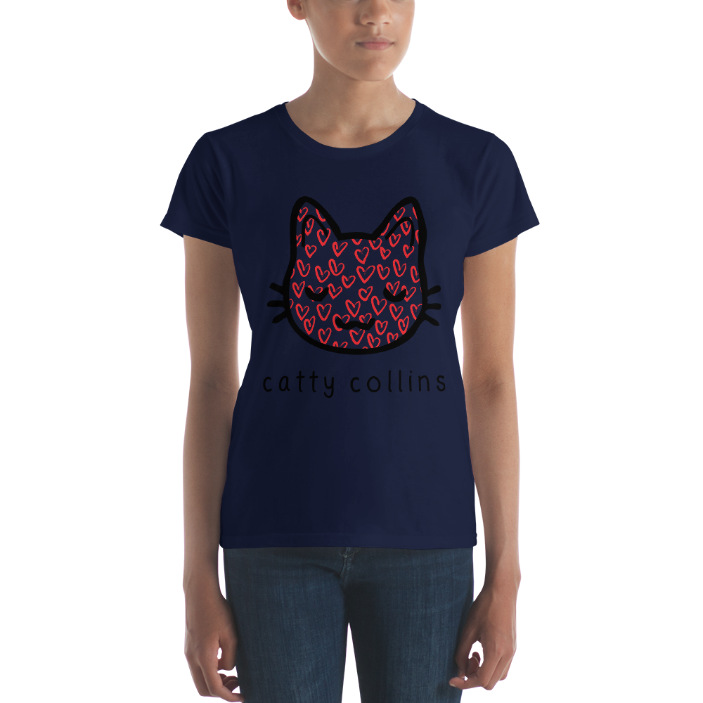 Women's Black Painted Hearts T-Shirt