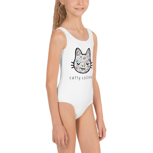 Girls Comic Cat Swimsuit