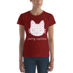 Women's Heart Pattern Cat T-Shirt