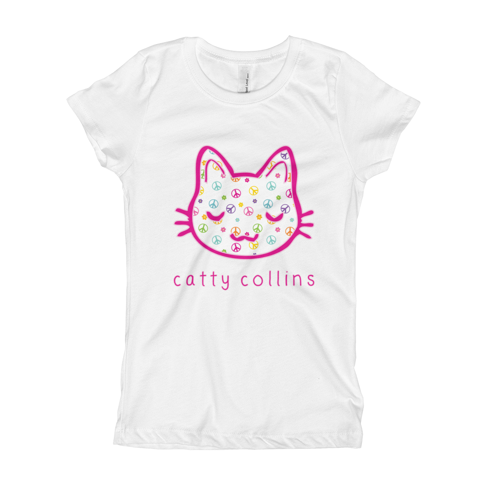 Girls Peace & Flowers Cat T-Shirt