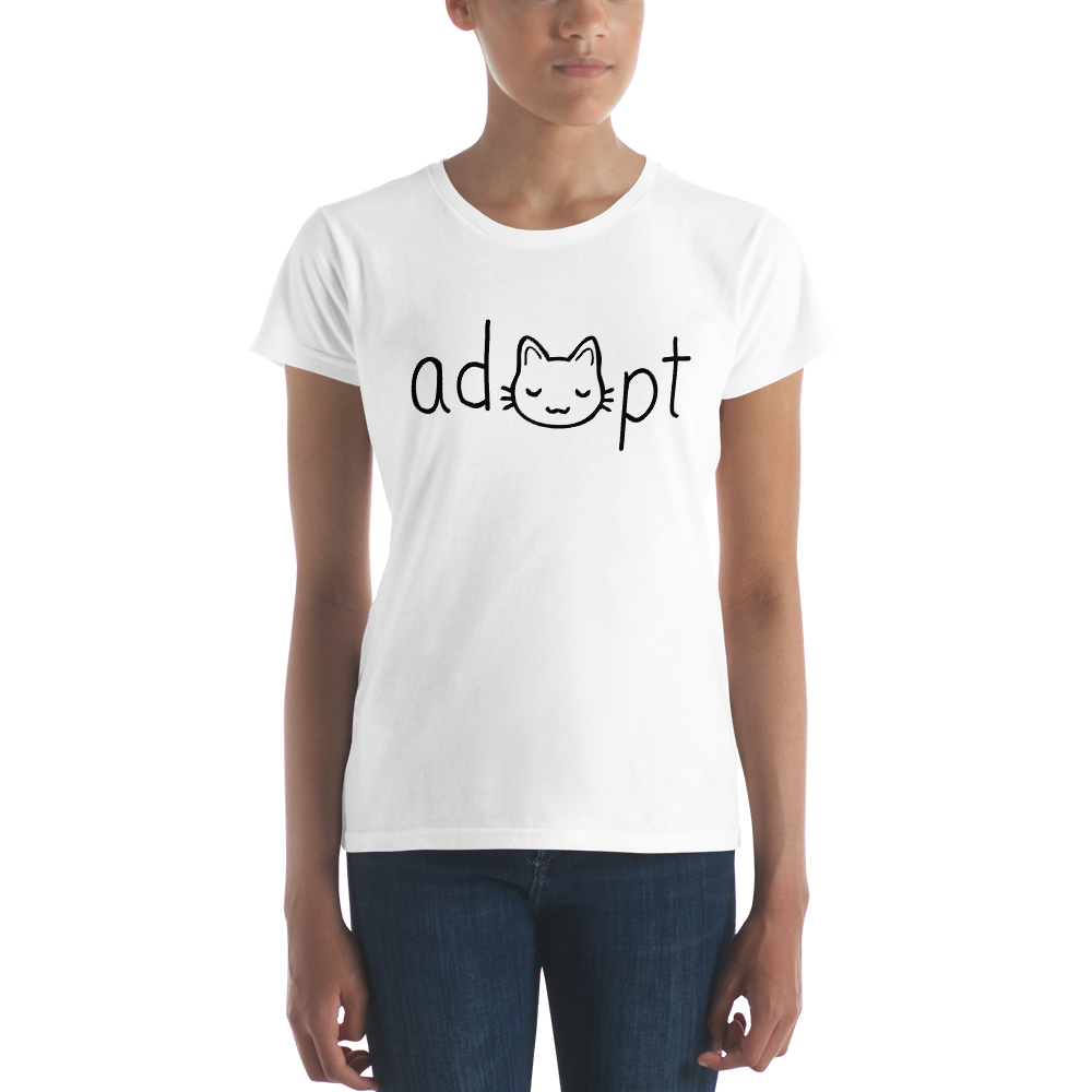 Women's Black Adopt Cat T-Shirt