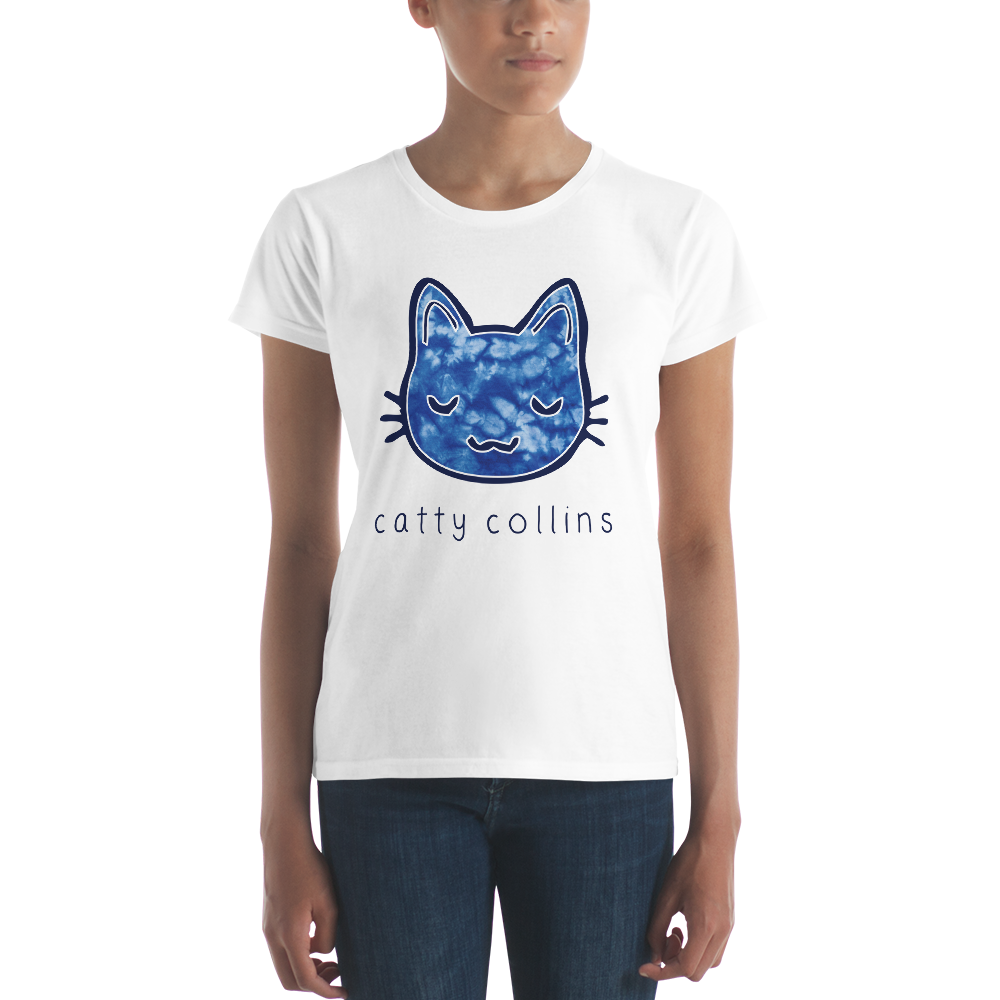 Women's Blue Tie Dye Cat T-Shirt