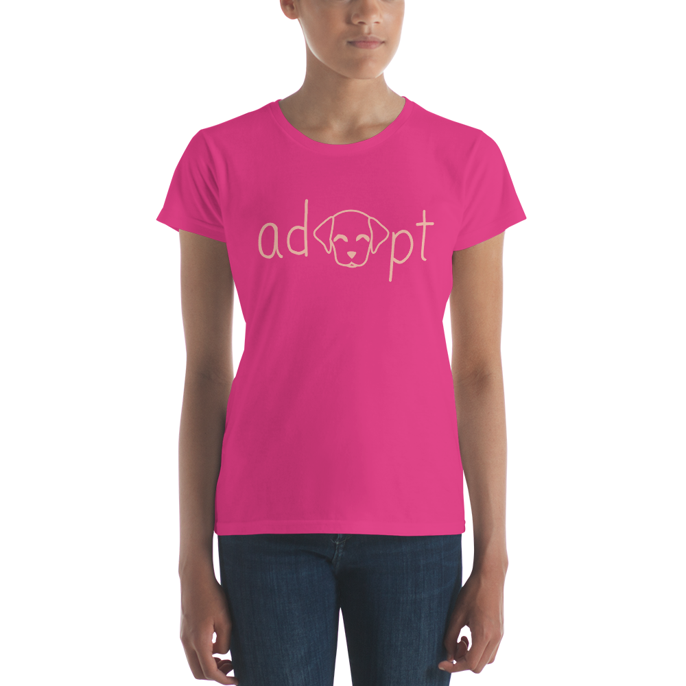 Women's Pink Adopt Dog T-Shirt